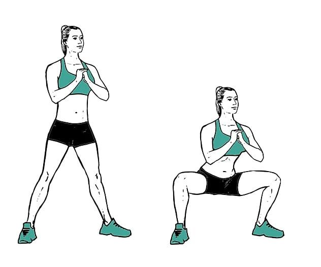 exercice fessiers squat sumo sans matériel